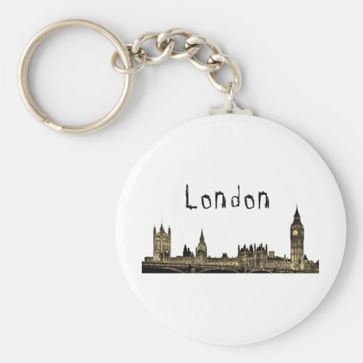 London Basic Round Button Keychain