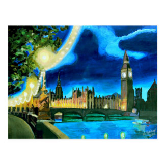 London Big Ben and Parliament with Thames Postcard
