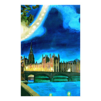 London Big Ben and Parliament with Thames Stationery Design