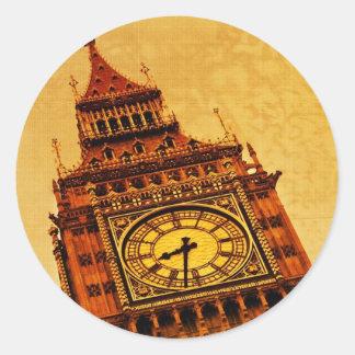 London, Big Ben grunge Classic Round Sticker