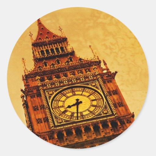London, Big Ben grunge Round Stickers