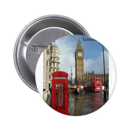 London Big Ben Phone box (by St.K) Pinback Button