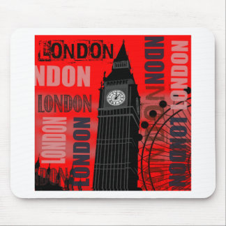 London Big Ben Red Modern Travel Collage Mouse Pad