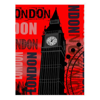 London Big Ben Red Modern Travel Collage Post Cards
