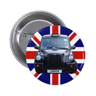 London Black Taxi Cab Pinback Button