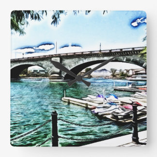 London Bridge at Lake Havasu City, Arizona Square Wall Clock