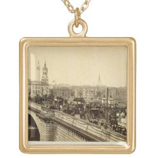 London Bridge, c.1880 (sepia photo) Gold Plated Necklace