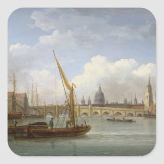 London Bridge, with St. Paul's Cathedral in the Di Square Sticker