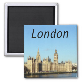 London, British parliament and the BigBen 2 Inch Square Magnet