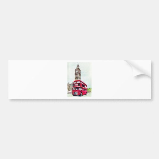 London Bus and Big Ben Bumper Stickers