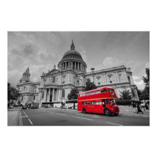 London bus and St Paul s Cathedral Posters