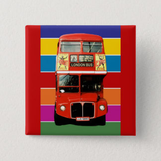 London Bus Badge - Square Pinback Button