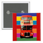 London Bus Badge - Square Pinback Buttons