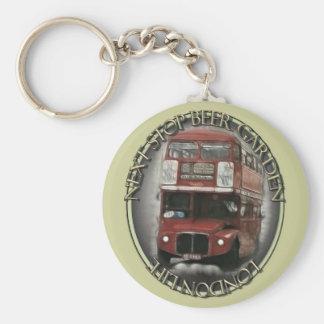 London Bus Basic Round Button Keychain