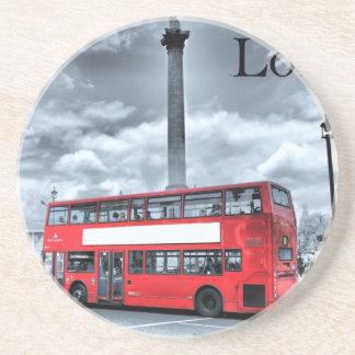 LONDON BUS in Black & White (St.K) Drink Coaster