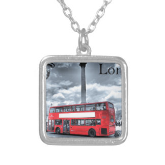 LONDON BUS in Black & White (St.K) Silver Plated Necklace
