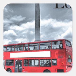 LONDON BUS in Black & White (St.K) Square Sticker