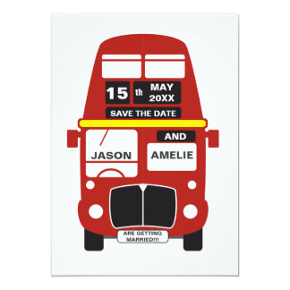 London Bus Save the Date card personalised
