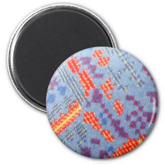 London Bus Seat Pattern 2 Inch Round Magnet