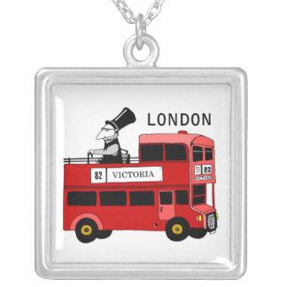 London bus square pendant necklace