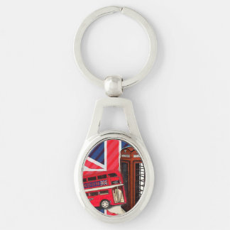 london bus telephone booth british fashion Silver-Colored oval metal keychain