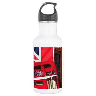 london bus telephone booth fashion british flag stainless steel water bottle