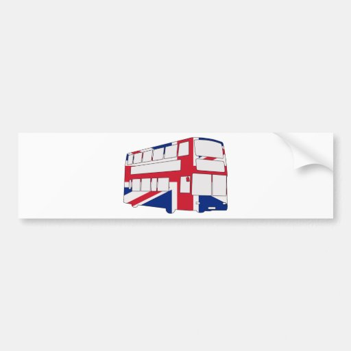 London Bus with Union Jack t shirts and gifts Bumper Sticker