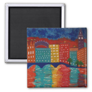 """London"" by Linda Powell~Original Abstract 2 Inch Square Magnet"
