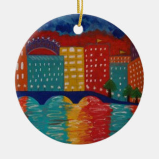 """""""London"""" by Linda Powell~Original Abstract Double-Sided Ceramic Round Christmas Ornament"""