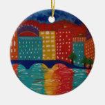 """London"" by Linda Powell~Original Abstract Christmas Tree Ornament"