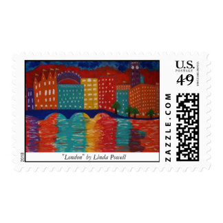 """London"" by Linda Powell~Original Abstract Postage"