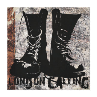 """London Calling Boots"" Digital Collage Art Canvas Print"