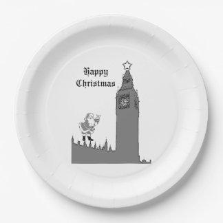 London Christmas Paper Plates