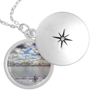 London City Airport Sculler Silver Plated Necklace