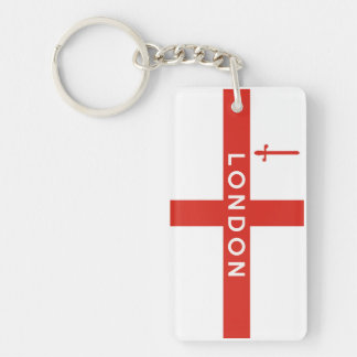london city england british flag text name keychain