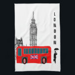 "London City Kitchen Towel<br><div class=""desc"">London city life graphic design with Big Ben,  red bus and a gentleman walking the town.</div>"