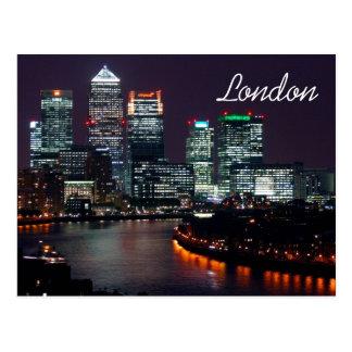 London City Night Skyline UK British Travel Postcard
