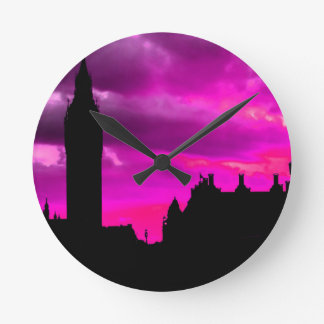 London City Sunset Round Clock