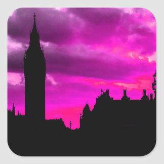 London City Sunset Square Sticker