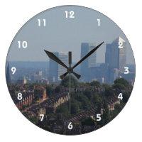 London Cityscape - Canary Wharf photo Large Clock