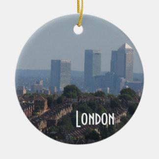 London Cityscape - Canary Wharf photo Christmas Tree Ornaments