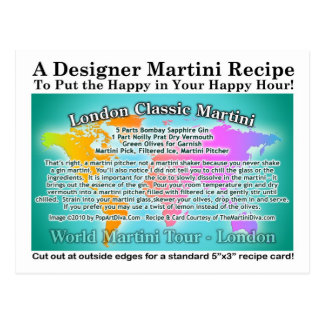 London Classic Gin Martini Recipe Postcard