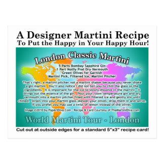 London Classic Gin Martini Recipe Postcard