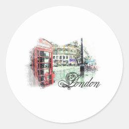 London Colored Sketch Classic Round Sticker
