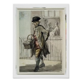 London Cries: A Muffin Man, c.1759 (w/c on paper) Poster