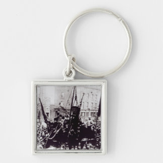 London Dock Strike, 1889 2 Silver-Colored Square Keychain