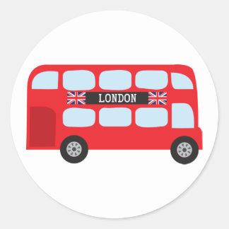 London double-decker bus classic round sticker