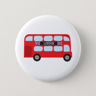 London double-decker bus pinback button