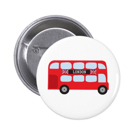 London double-decker bus pinback button