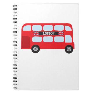London double-decker bus spiral notebook